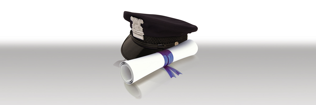 Images of police hat and diploma on a white and gray background color