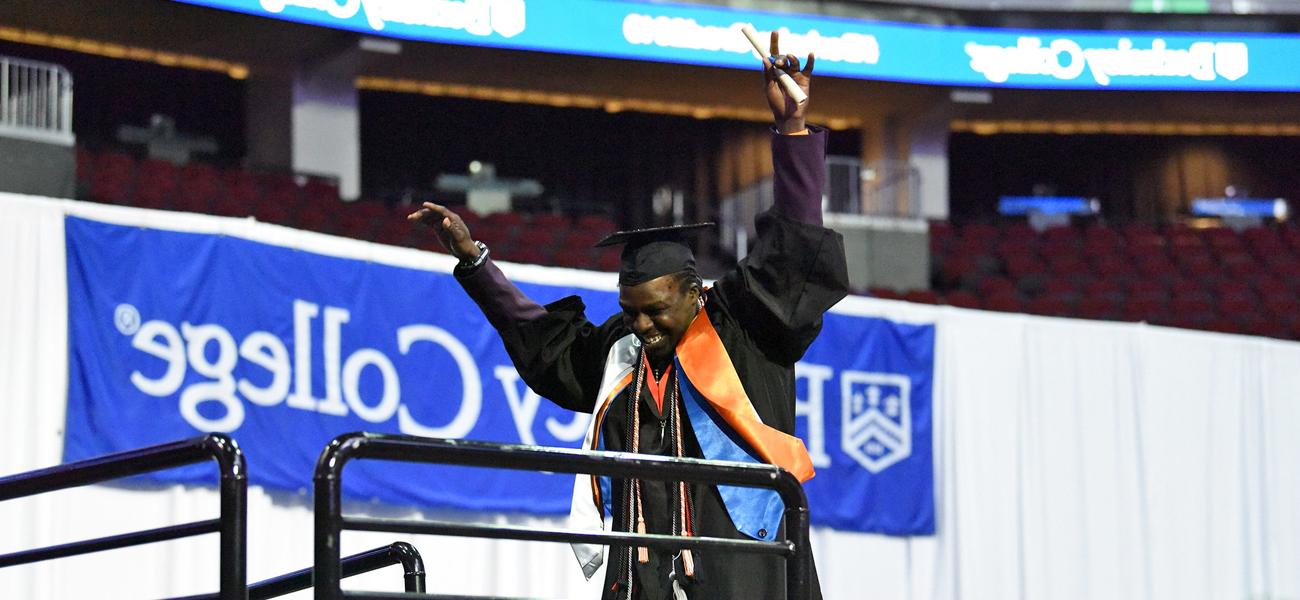 Photo of Adam Karriem at the Berkeley College Commencement ceremony